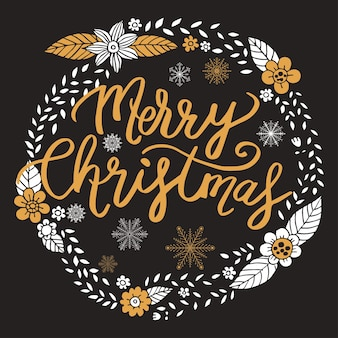Merry christmas, calligraphy with hand drawn wreath vector.