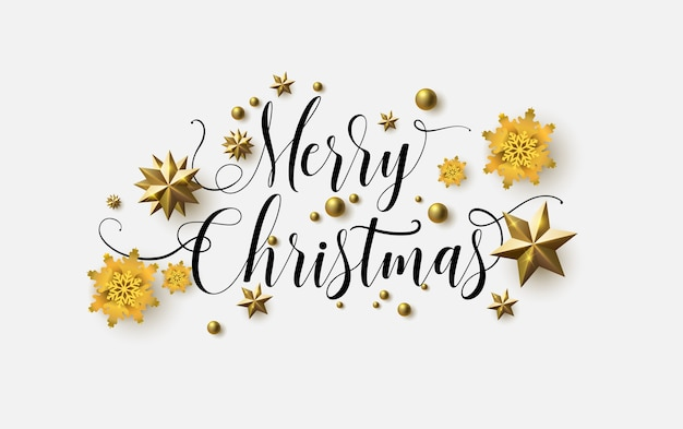 Merry christmas calligraphy with a white background and sparkling stars