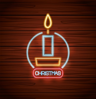 Merry christmas candle with neon lights on wood