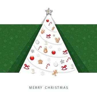 메리 크리스마스 카드. 3d 용지가 잘립니다.