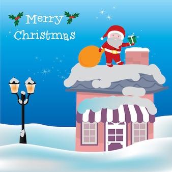 煙突のベクトル図のメリークリスマスカードとサンタクロース