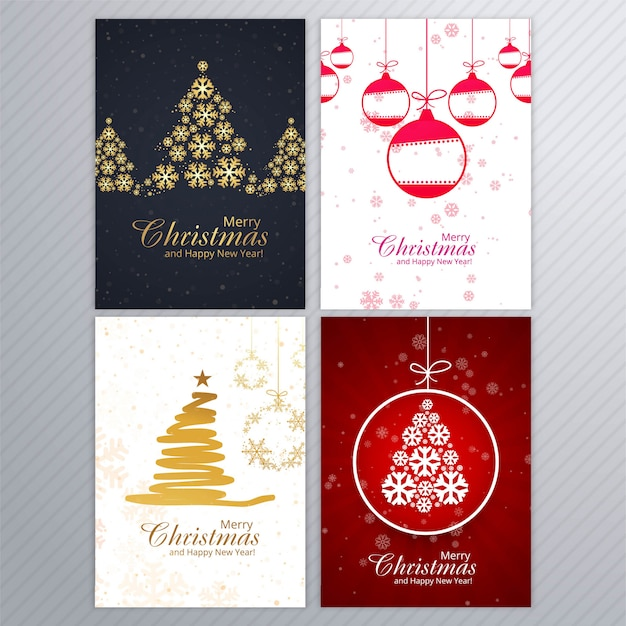 Merry christmas card background brochure set design