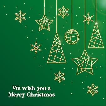 メリークリスマスカードの背景概念無料ベクトル