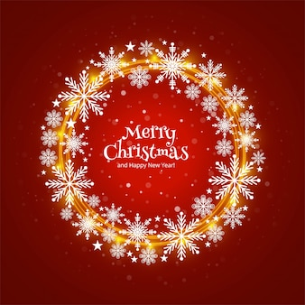 Merry christmas card beautiful circular snoflakes decorative background