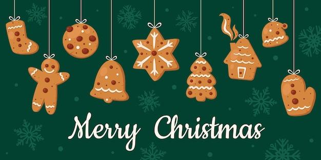 С рождеством христовым открытка. коллекция рождественского печенья.