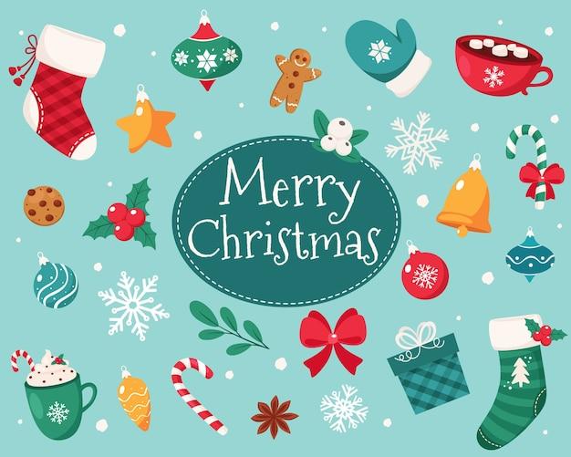 メリークリスマスカード。クリスマスの要素のコレクション。