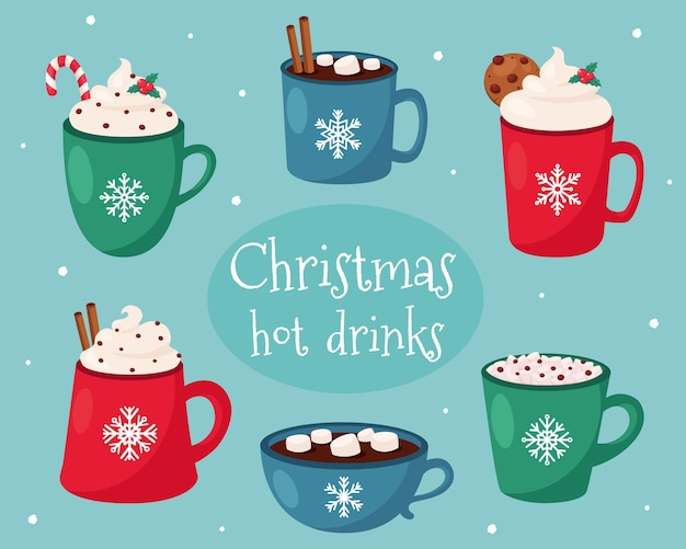 Merry christmas card. christmas hot drinks collection.