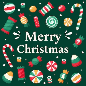 С рождеством христовым открытка. рождественские сладости и коллекция конфет.