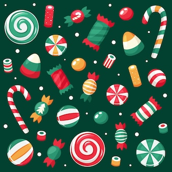 Merry christmas card. christmas sweets and candies collection.