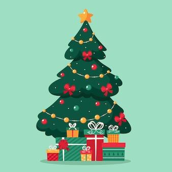 Веселая рождественская открытка. рождественская елка с подарками.