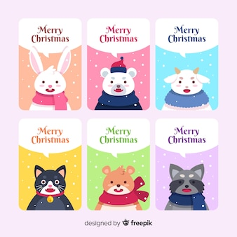 Merry christmas card collection with cute animals