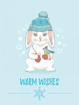 Веселая рождественская открытка. симпатичные животные плакат на рождество новый год. мультфильм кролик домашнее животное. нарисованный от руки