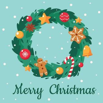Merry christmas card. cute christmas wreath.