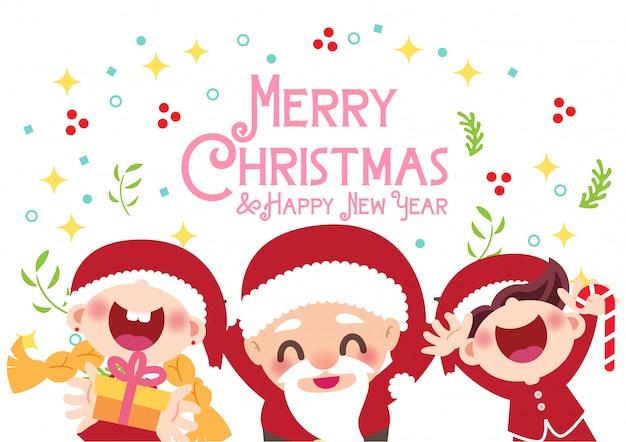 Merry christmas card decoration vector