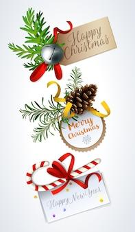 Merry christmas card design.   christmas gift tags