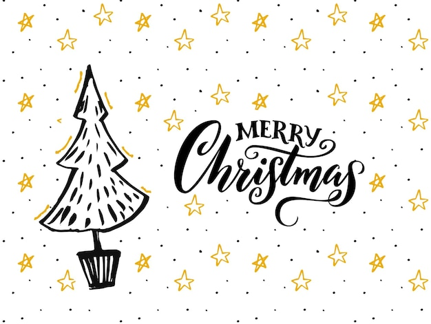 Merry christmas card design with hand drawn tree and calligraphy caption. white background with yellow stars and black text.