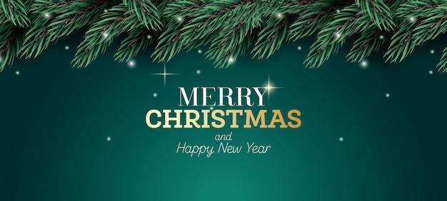 메리 크리스마스 카드입니다. 네온 불빛이 있는 전나무 가지