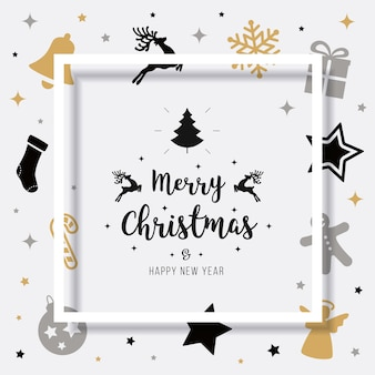 Merry christmas card greeting elements text shadow frame