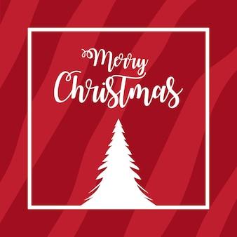 メリークリスマスカード赤の背景に最小限のコンセプトの白いクリスマスツリー明けましておめでとうございます