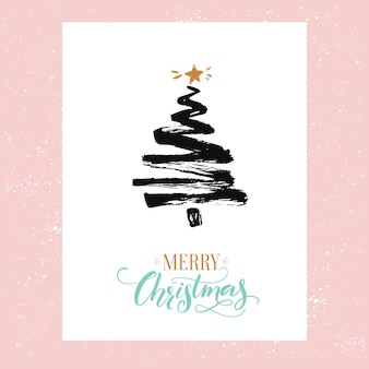 Merry christmas card minimalism design simple sketched fir tree and text merry christmas