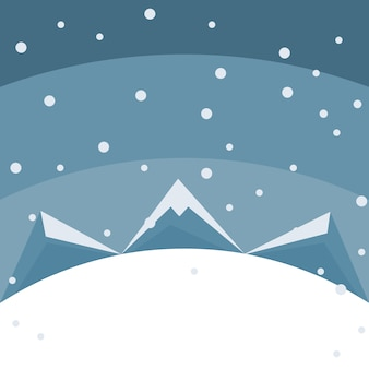 Merry christmas card of mountains in the snow