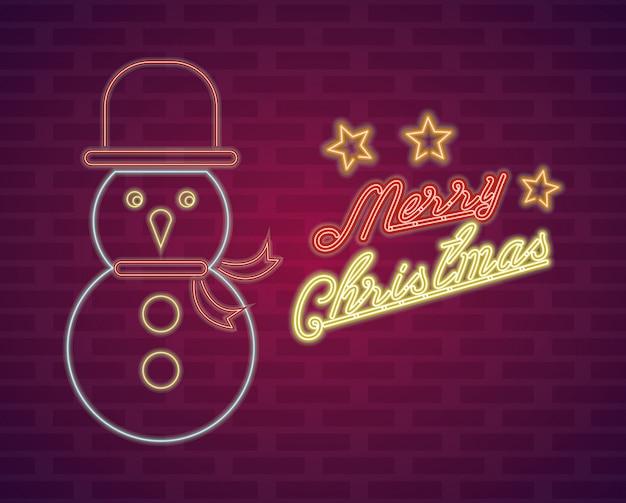 Веселая рождественская открытка неоновые огни