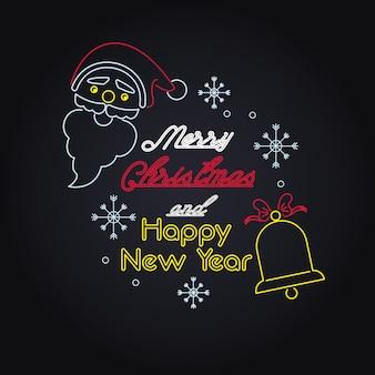 Merry christmas card neon lights