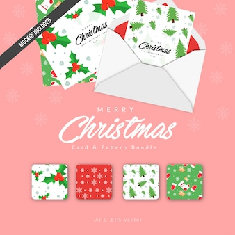 Merry christmas card and pattern bundle with envelope
