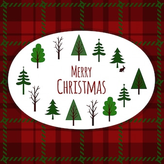 Merry christmas card on plaid background.