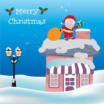 Merry christmas card and santa clause in chimney vector illustration