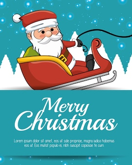 Merry christmas card santa sleigh with snow