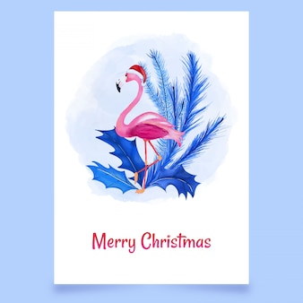 Merry christmas card snow with pink flamingo and leaves