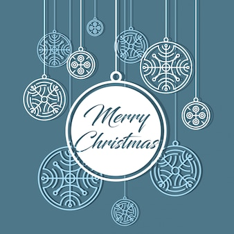 Merry christmas card. snowflakes banner. winter background
