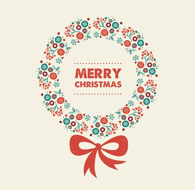 Merry christmas card template with decorative wreath .