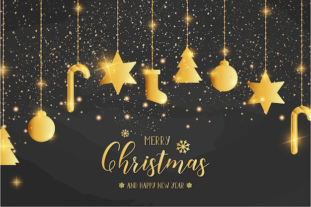Merry christmas card template with golden icons