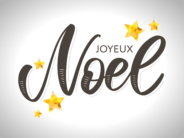 Merry christmas card template with greetings in french language. joyeux noel.  illustration