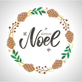 Merry christmas card template with greetings in french language. joyeux noel.