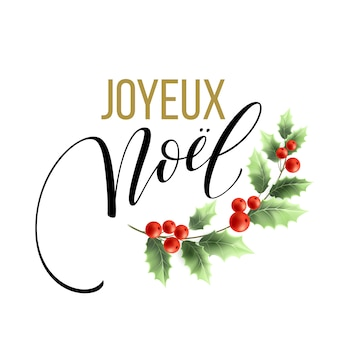 Merry christmas card template with greetings in french language. joyeux noel