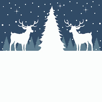 Merry christmas card of tree and reindeer in the snow