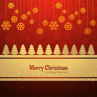 Merry christmas card tree with snowflake background vector