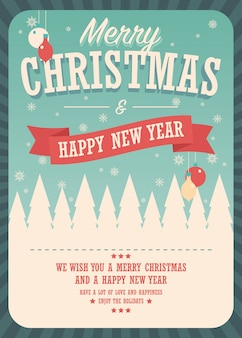 Merry christmas card on winter background, poster design
