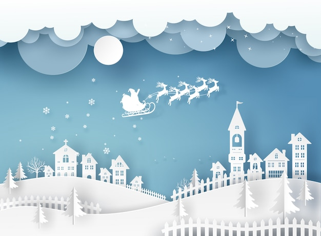 Merry christmas card in winter landscape with houses and building and santa claus on the sky