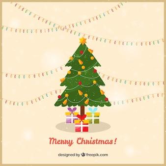 크리스마스 트리와 함께 메리 크리스마스 카드