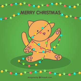 귀여운 고양이 함께 메리 크리스마스 카드