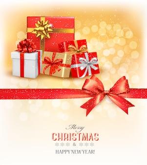 리본과 선물 상자가 있는 메리 크리스마스 카드. 벡터.