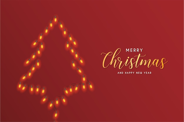 Merry christmas card with abstract christmas tree lights