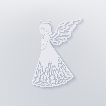 Merry christmas card with angel, ornamental wings