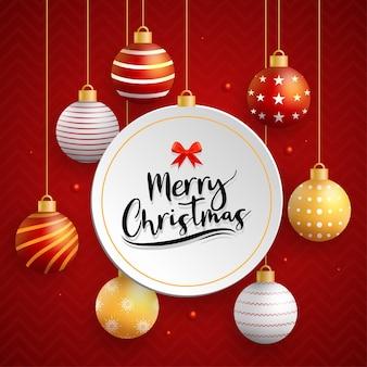 Merry christmas card con palla sul rosso