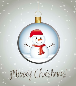 Merry christmas card with balls over gray background vector