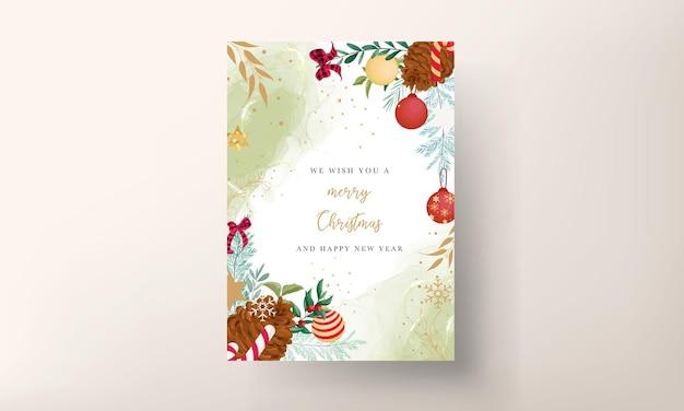 Веселая рождественская открытка с красивым рождественским орнаментом